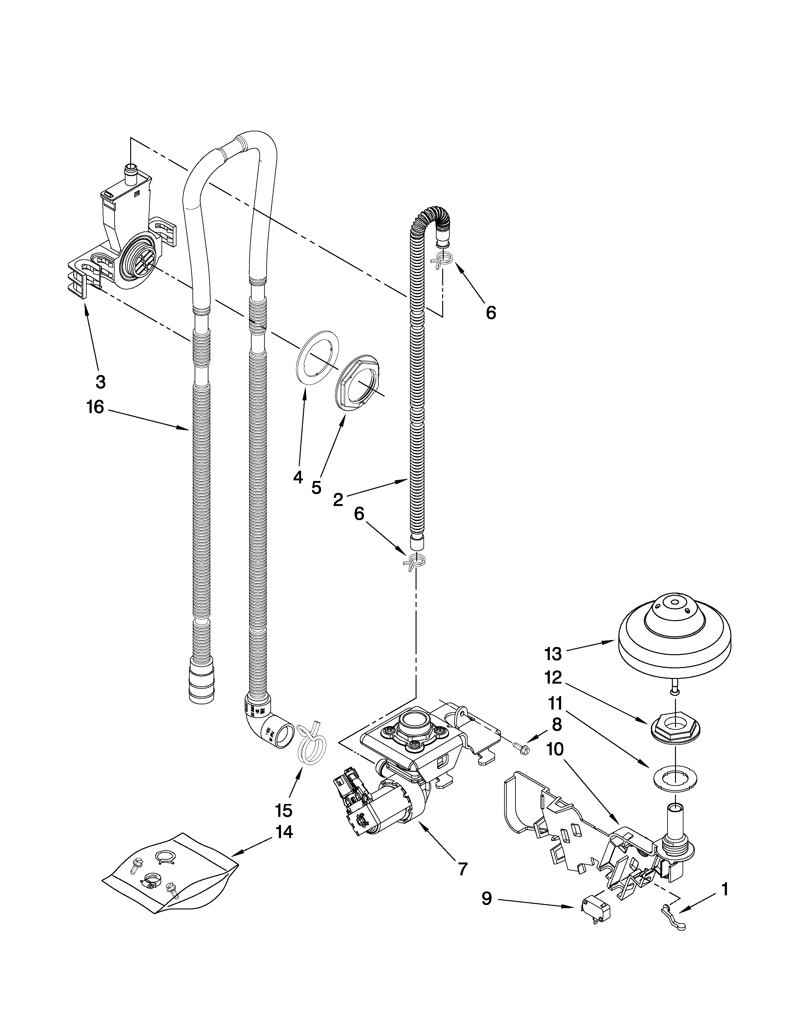 Kenmore Elite 66513192K901 fill, drain and overfill parts diagram