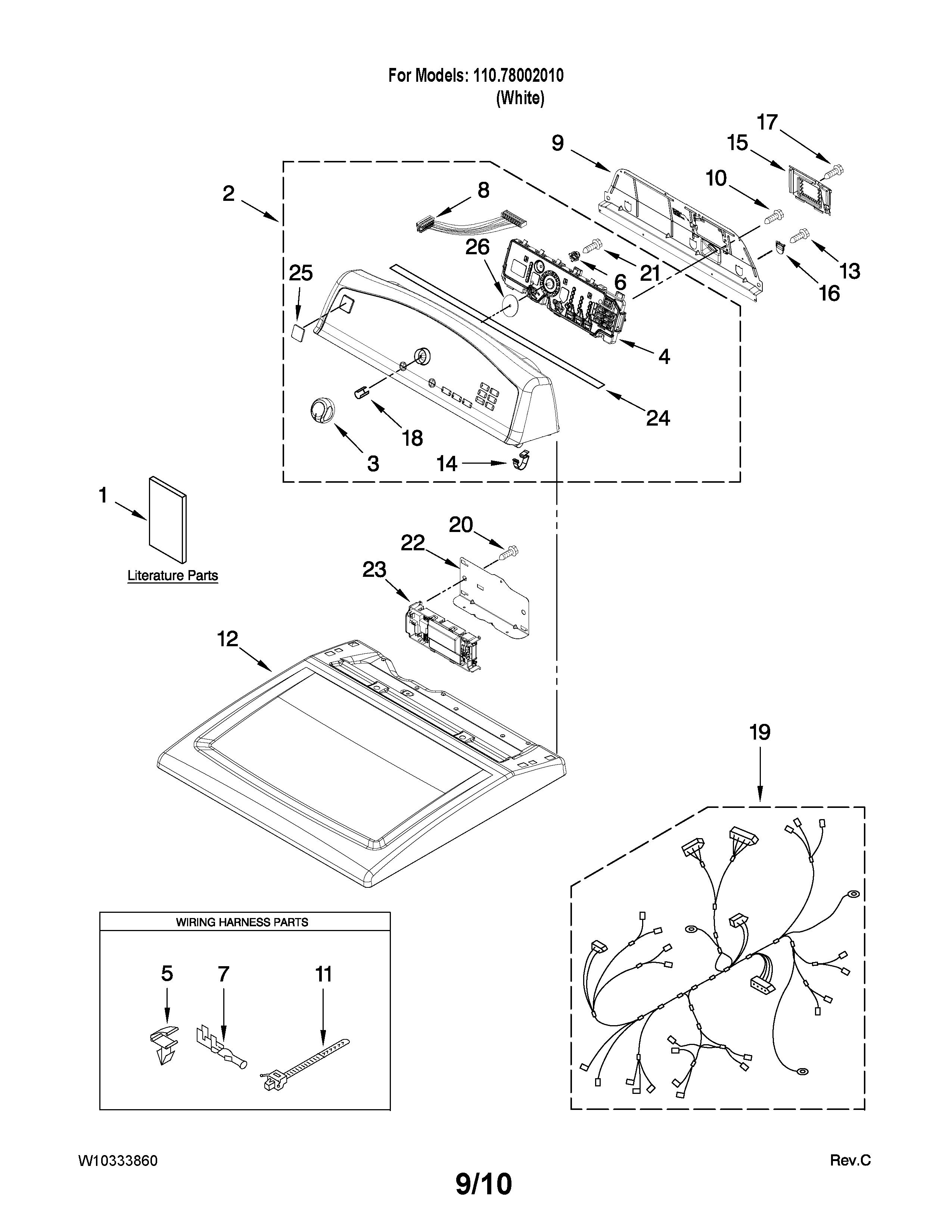 Kenmore Model 11078002010 Residential Dryer Genuine Parts Gas Diagram On 70 Series