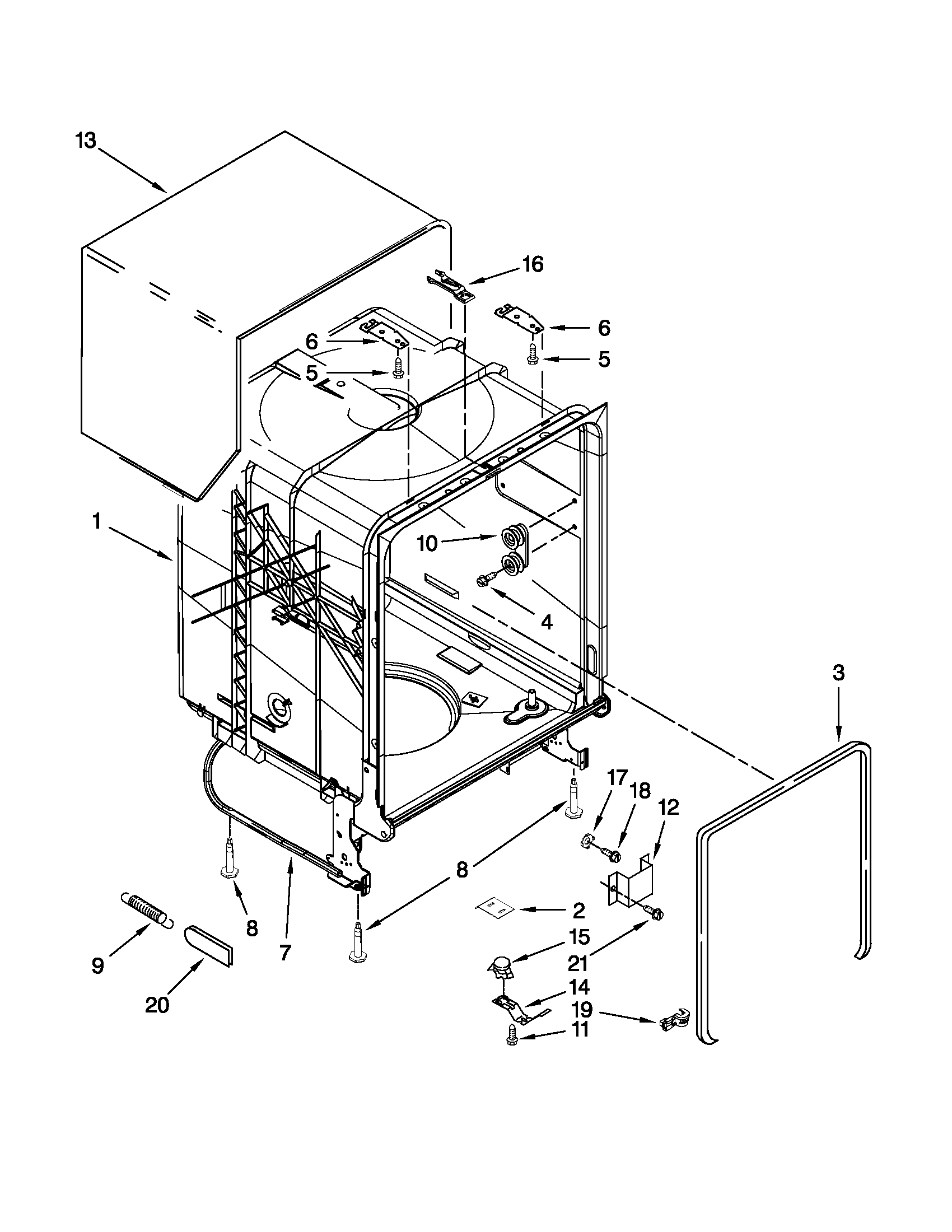 Kenmore 66513039K111 tub and frame parts diagram