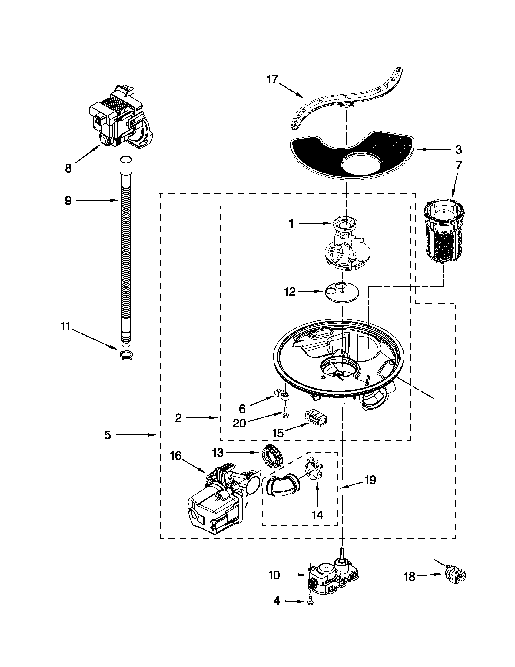 Kenmore 66513039K111 pump and motor parts diagram