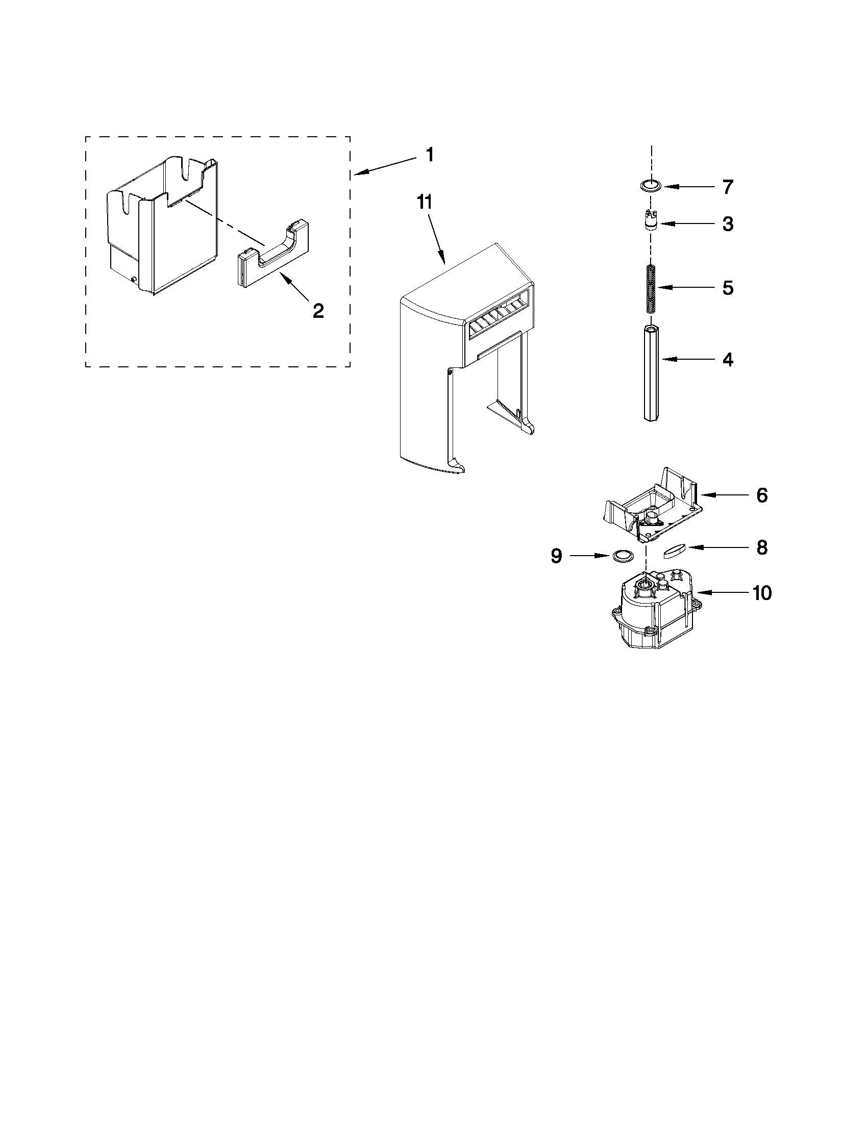 Kenmore Elite 10651149111 motor and ice container parts diagram