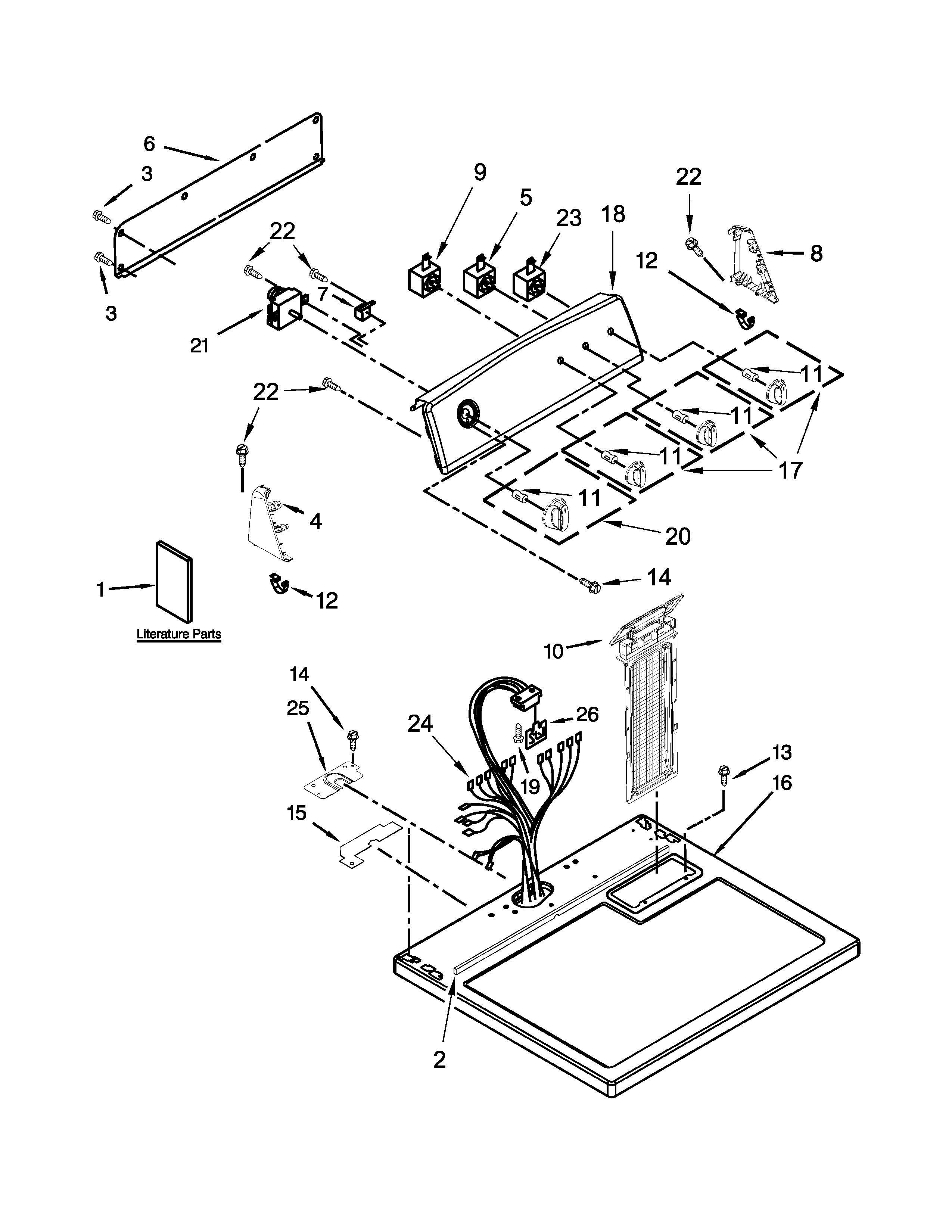 Kenmore 11065202310 top and console parts diagram
