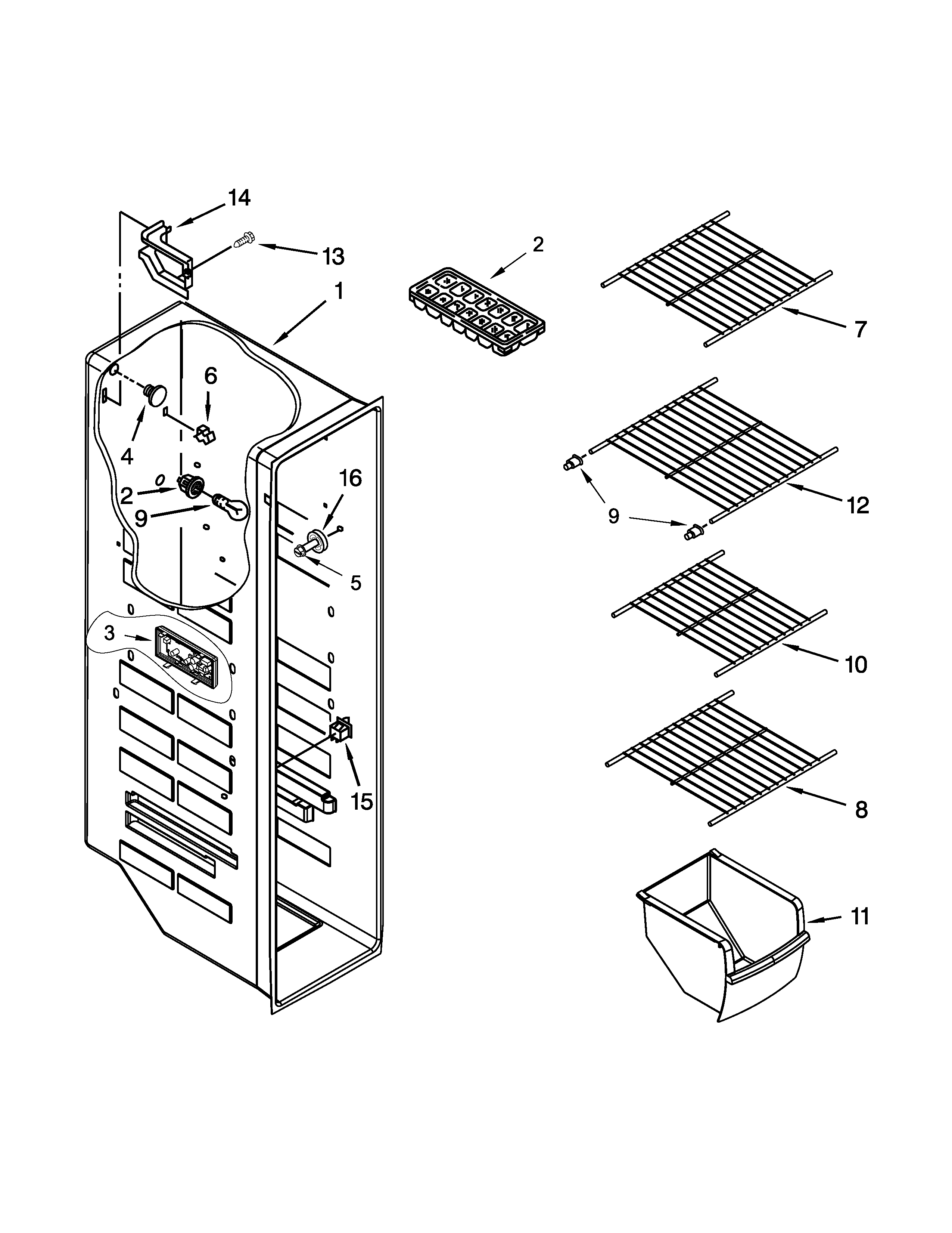 Kenmore  Refrigerator  Freezer liner parts