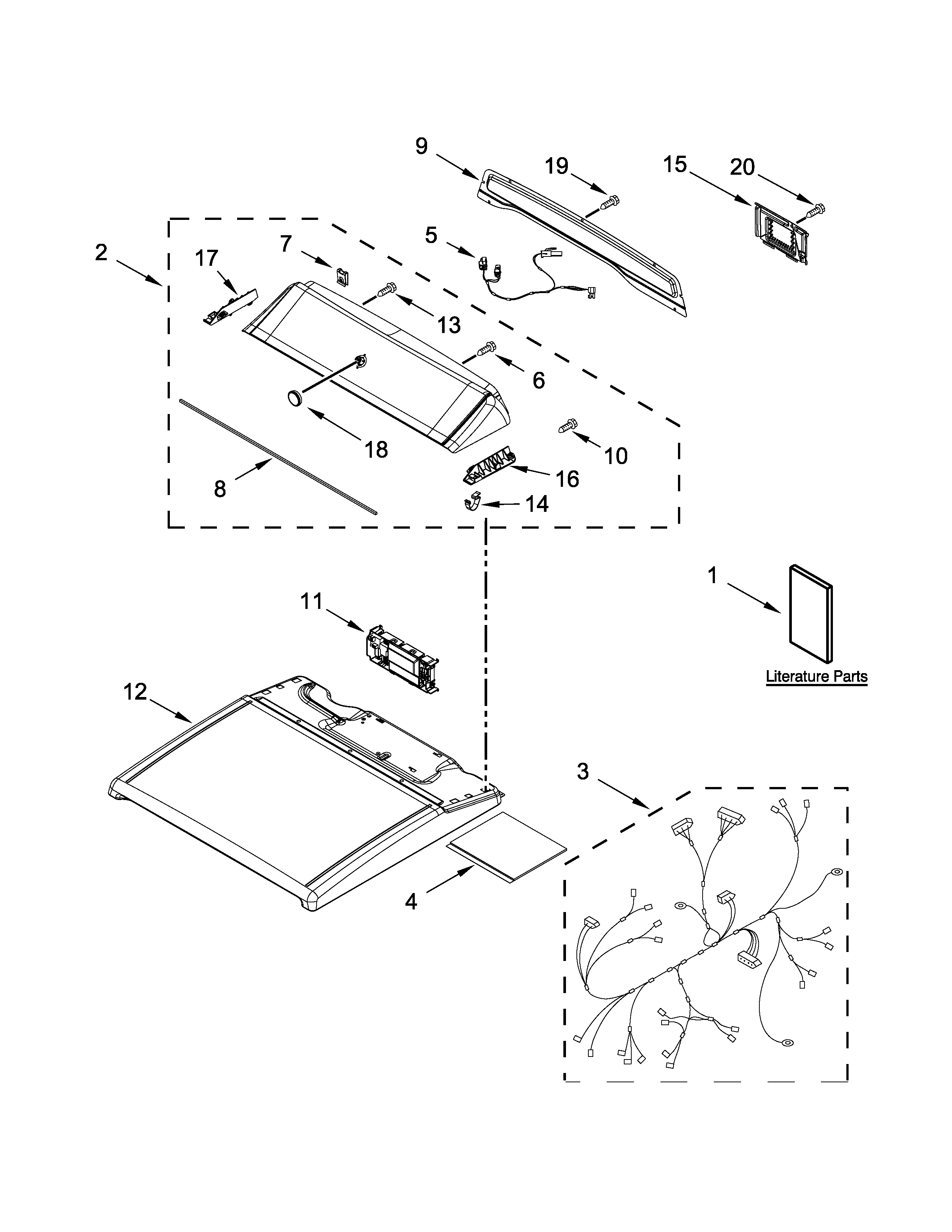 Kenmore 11079132413 top and console parts diagram