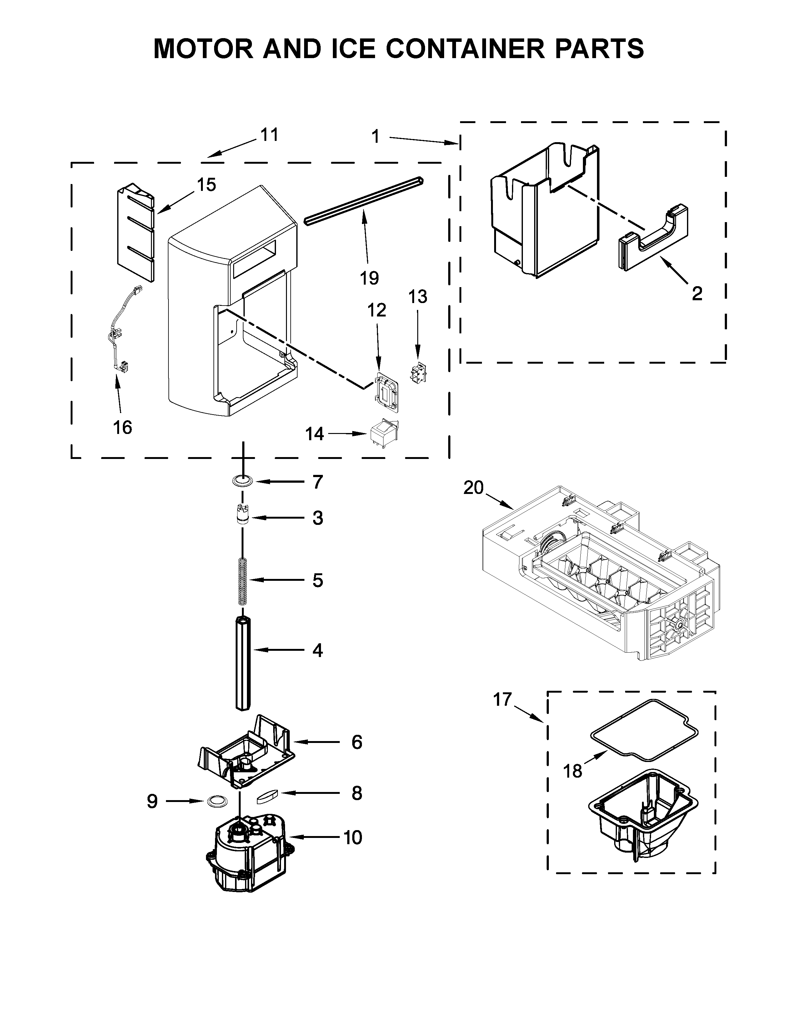Kenmore 10651332710 motor and ice container parts diagram