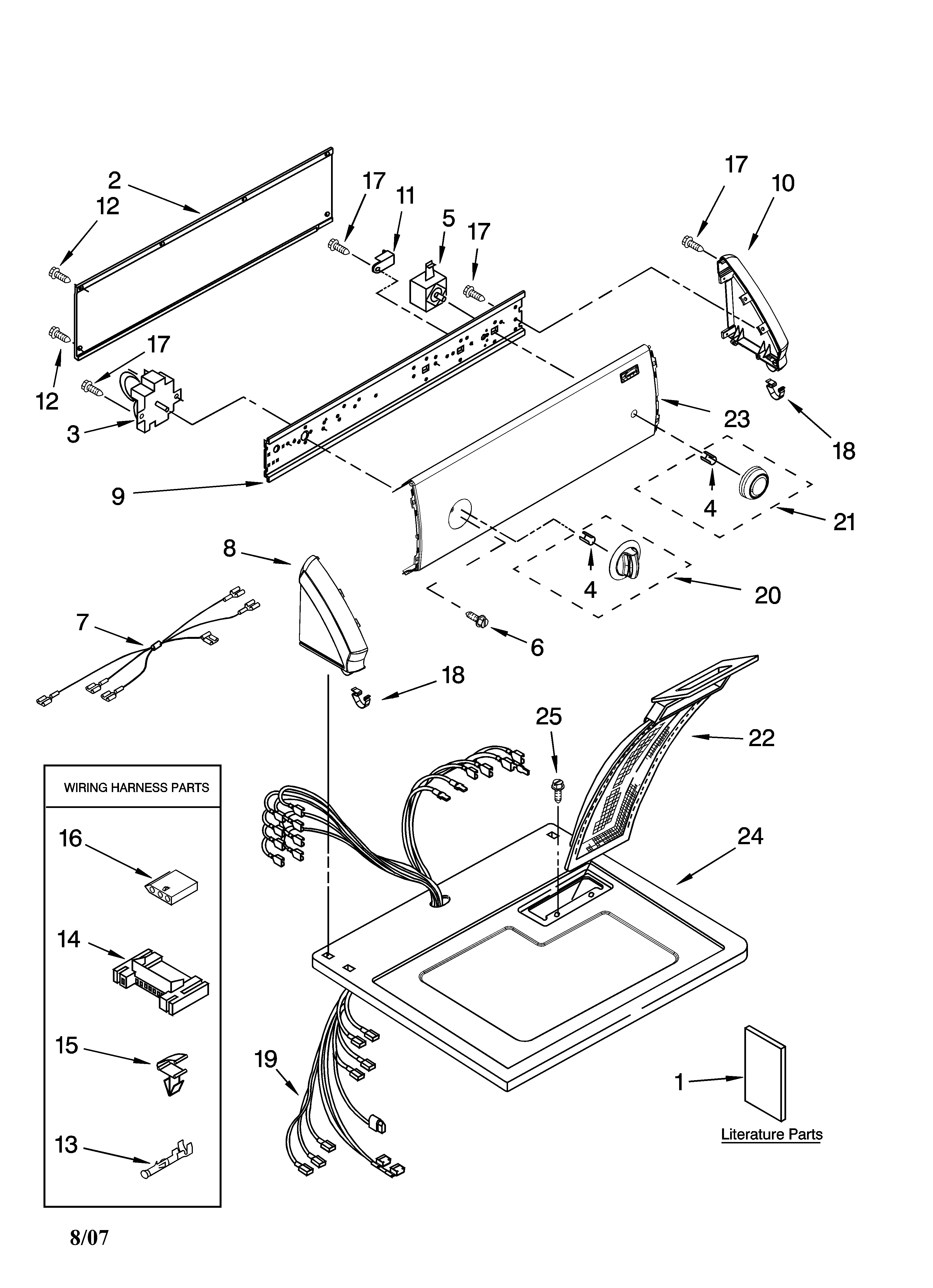 Kenmore 11068432700 top and console parts diagram