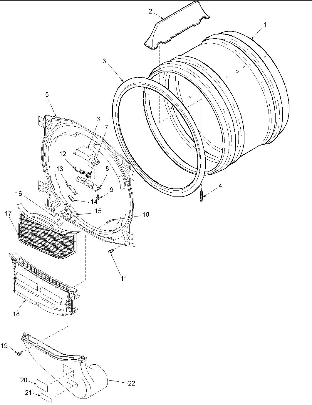 Amana  Amana Dryer Ele  Front bulkhead, air duct & cylinder