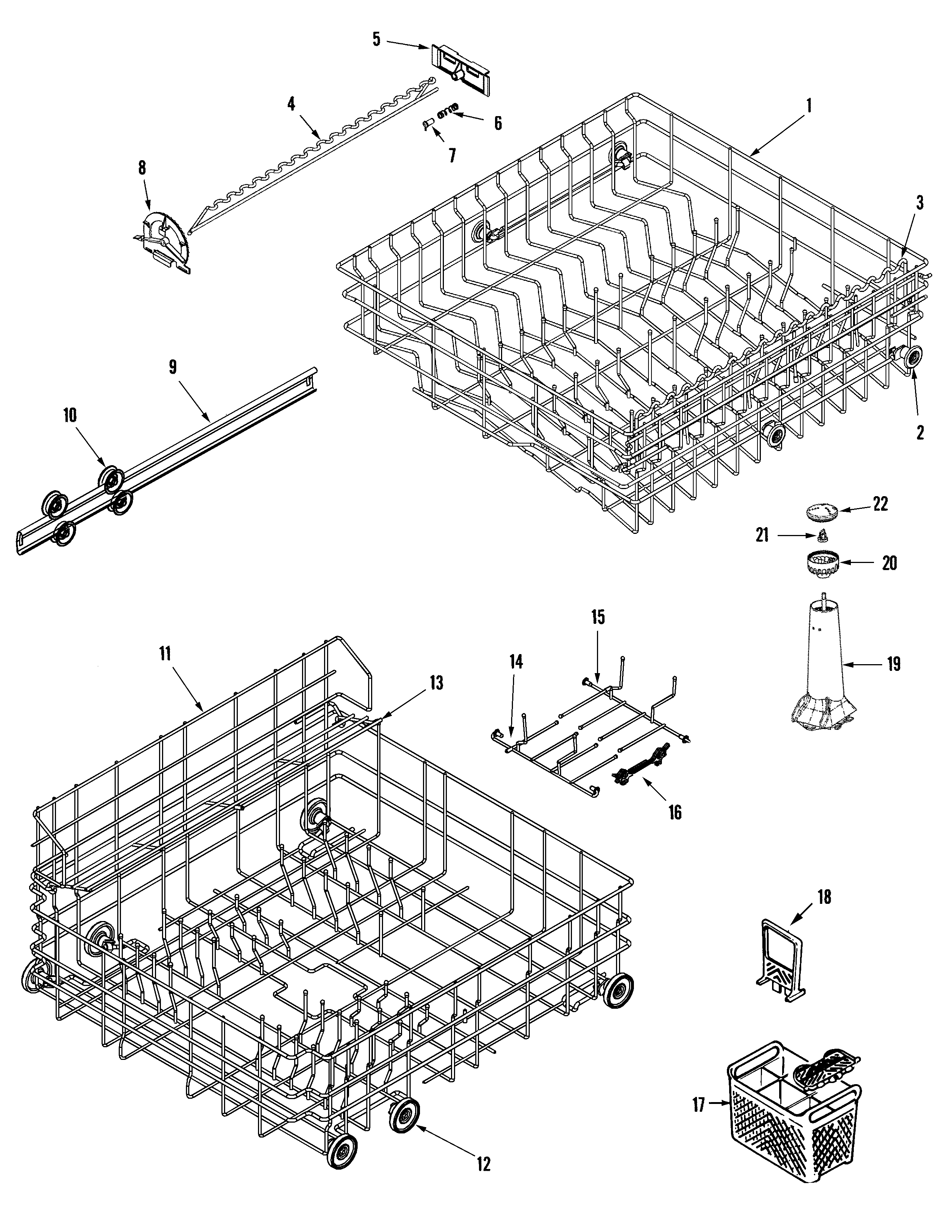 Amana ADW862EAC track & rack assembly diagram