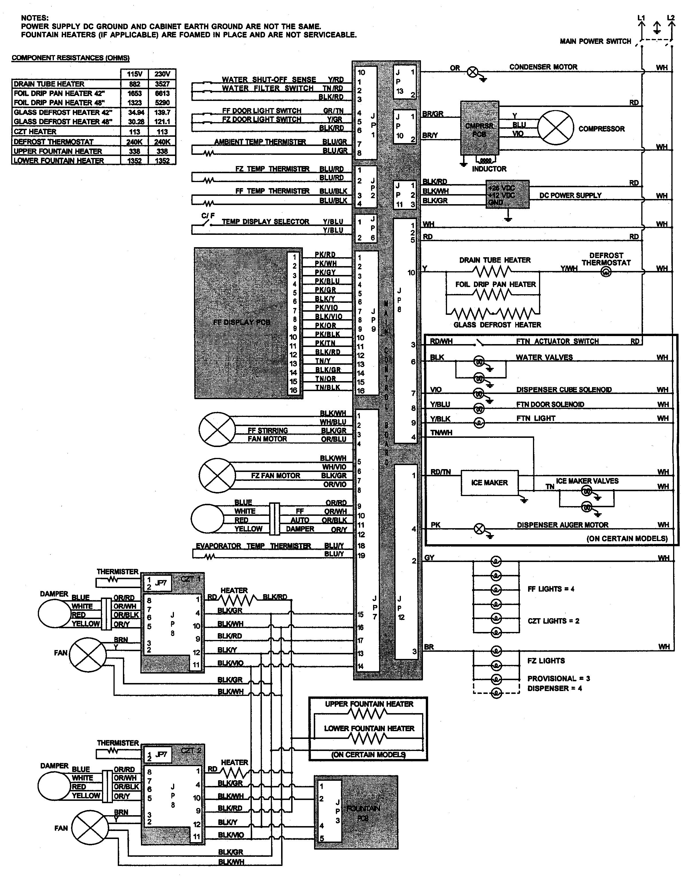 Jenn-Air  Jenn-Air Refrigeration  Wiring information