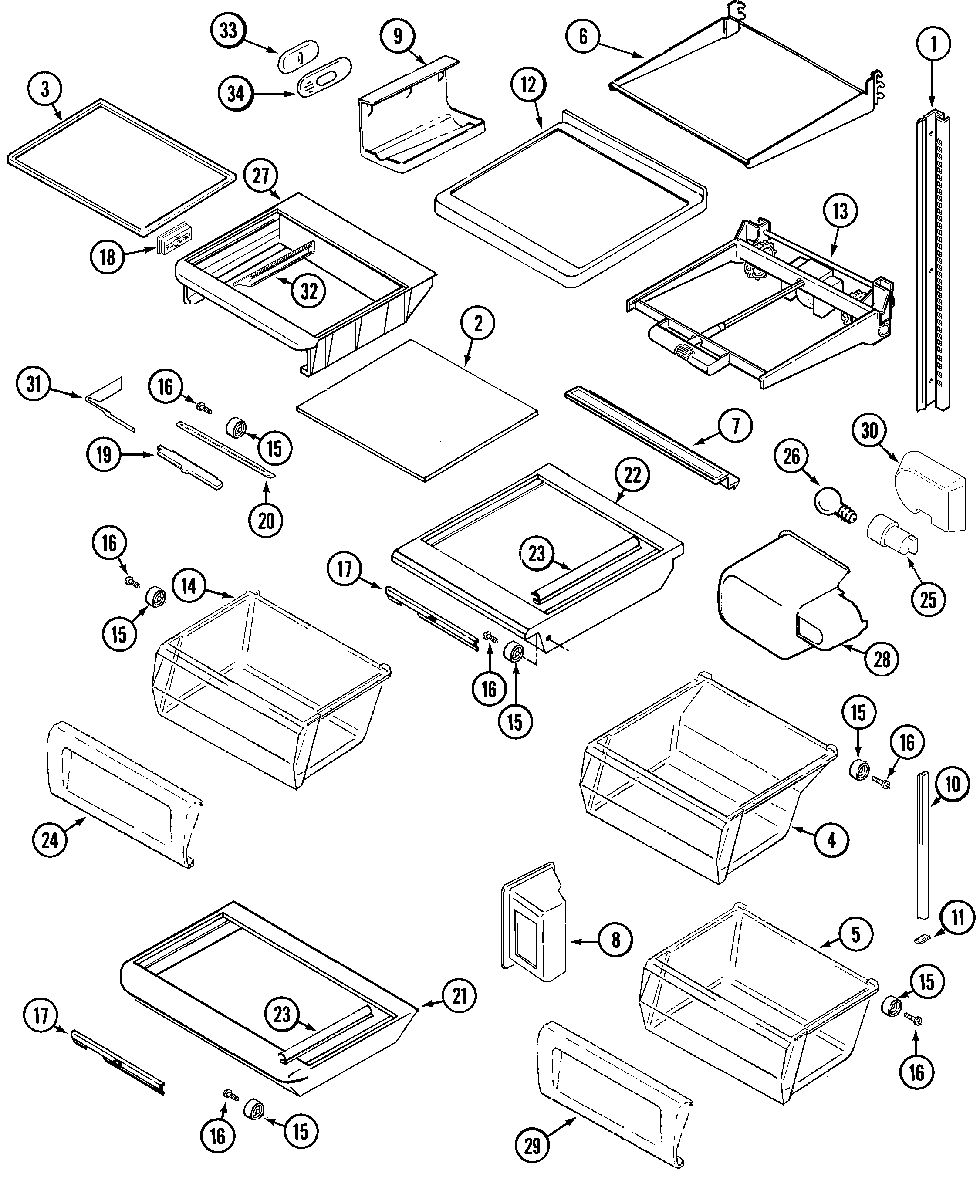 Maytag GC2228EED9 shelves & accessories diagram