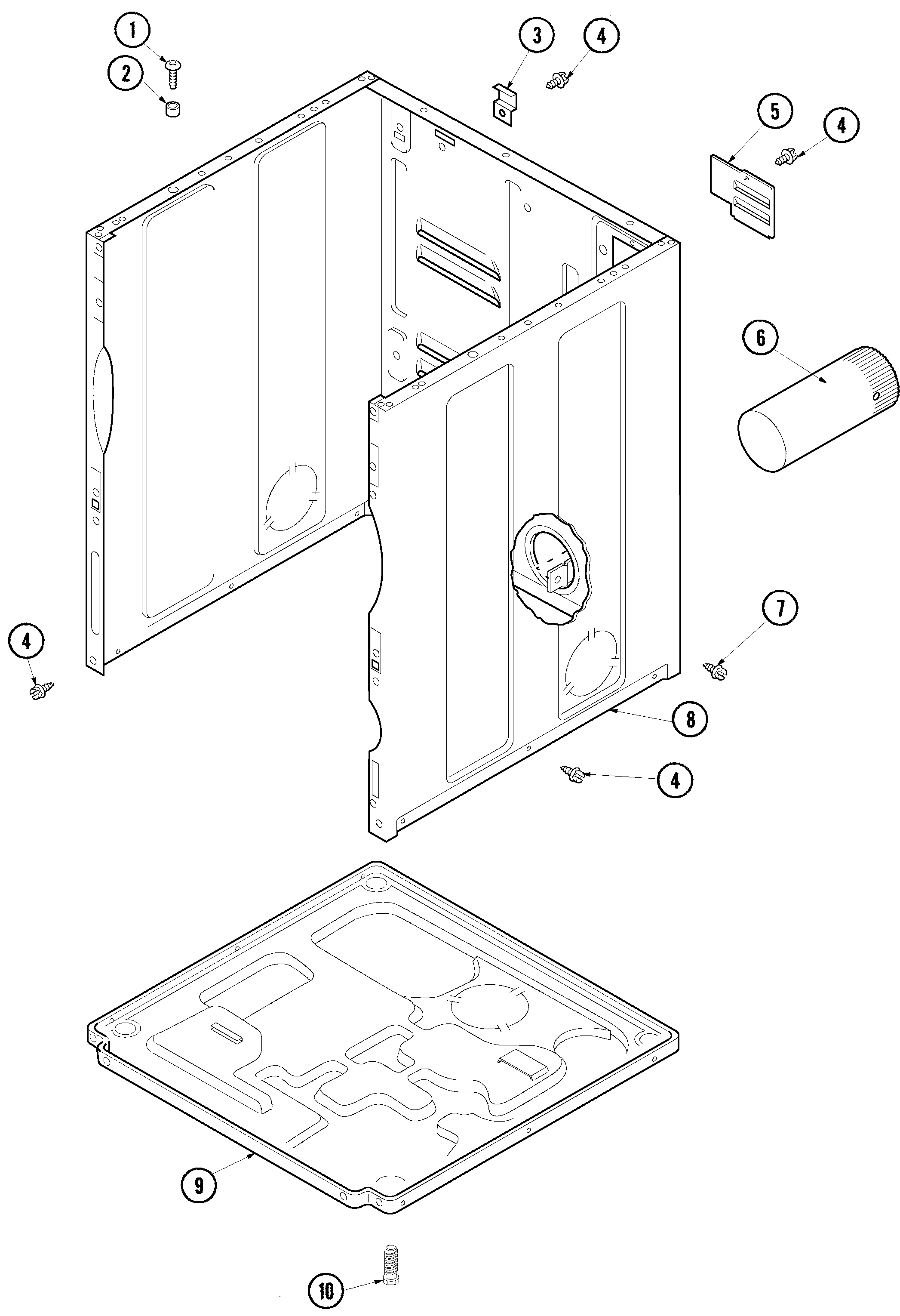 Amana ALE331RCW cabinet and base diagram