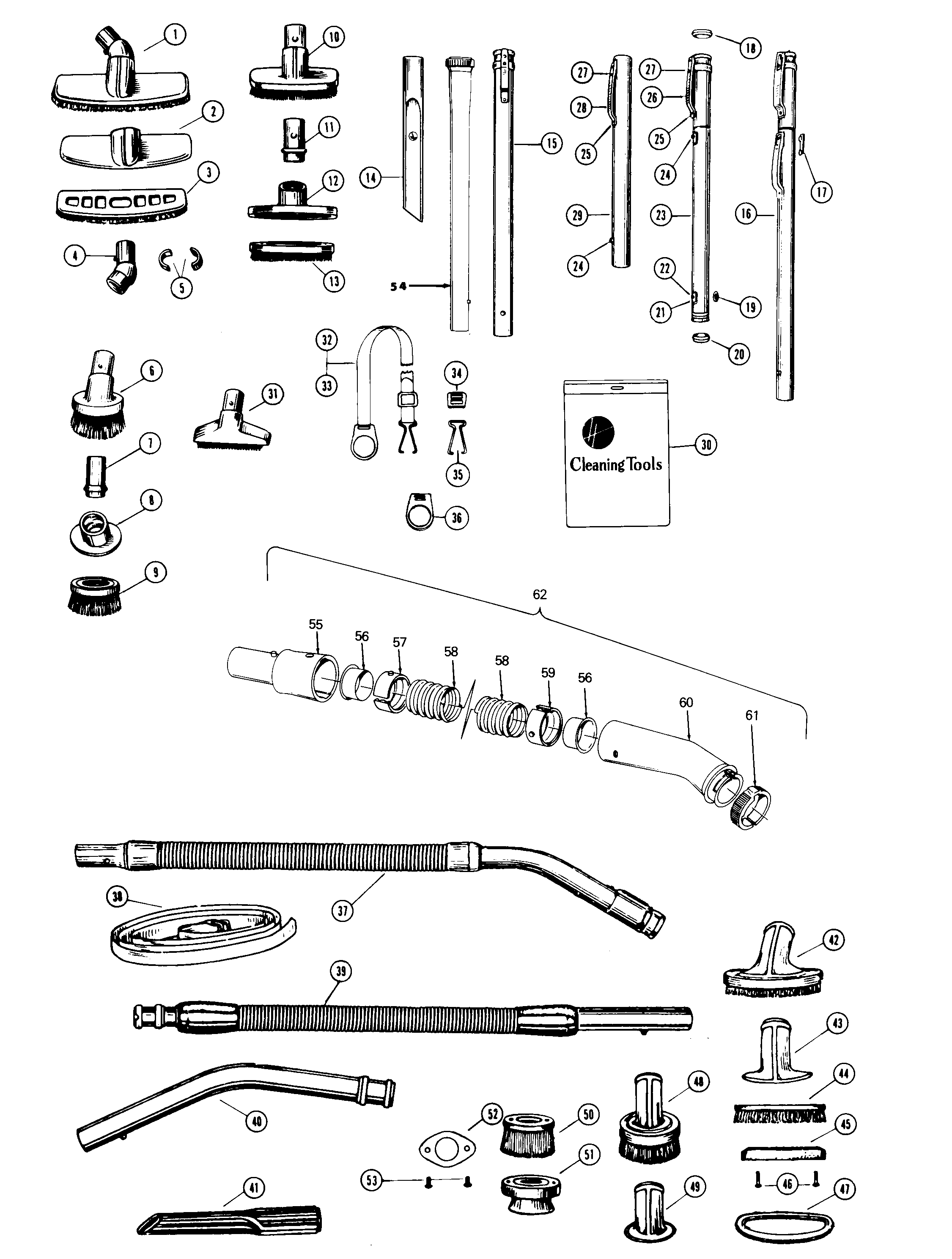 Hoover 2900 hose, cleaningtools diagram