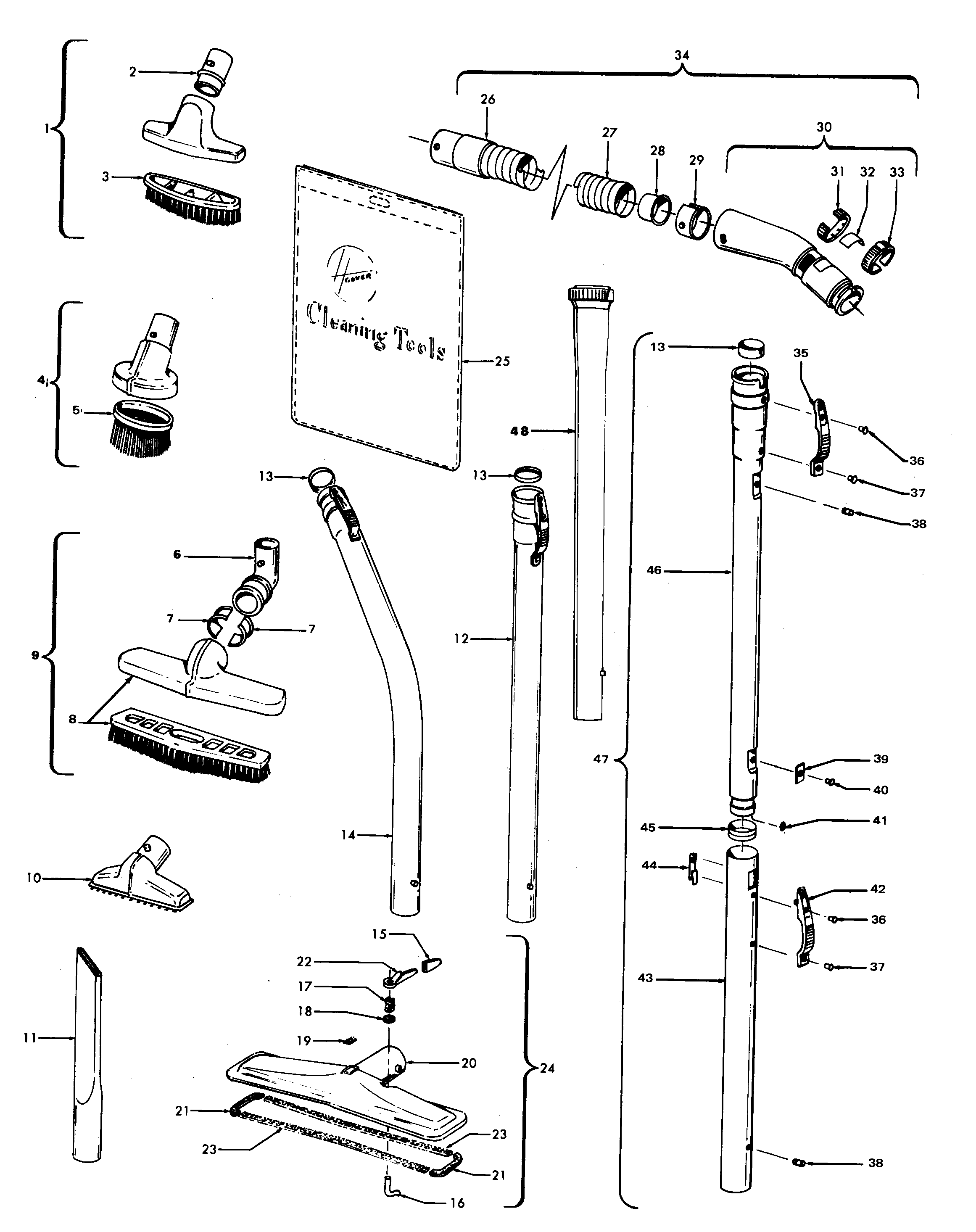 Hoover Model 707 Vacuum Upright Genuine Parts Wiring Diagram