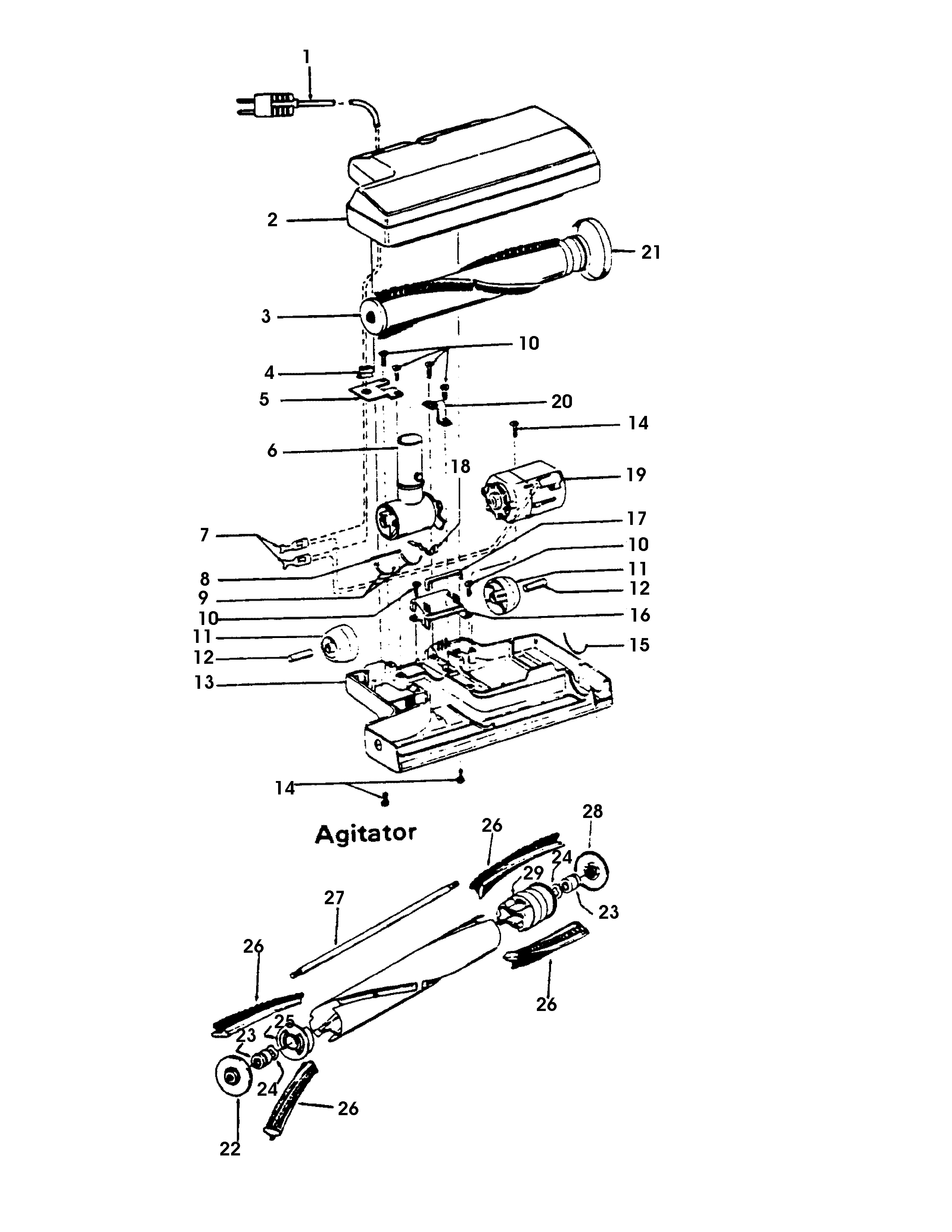 Hoover S3261--- powerednozzle, agitator diagram