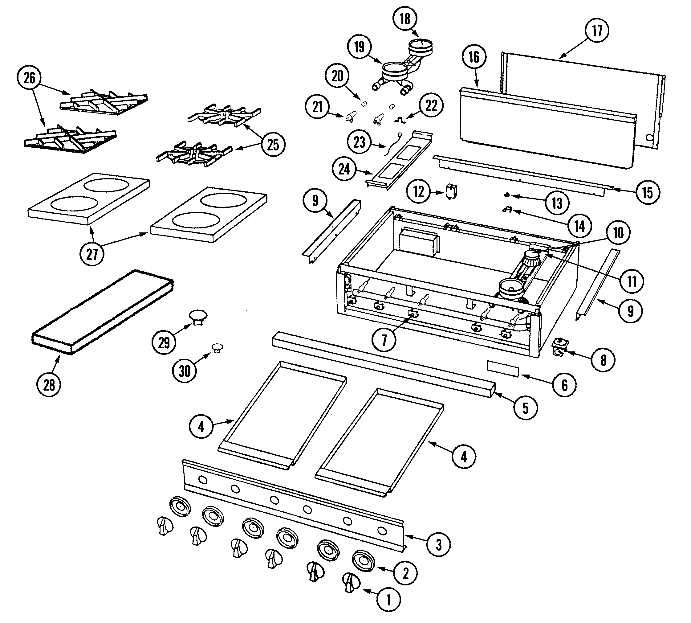 Dynasty DCT488 top assembly/gas controls diagram