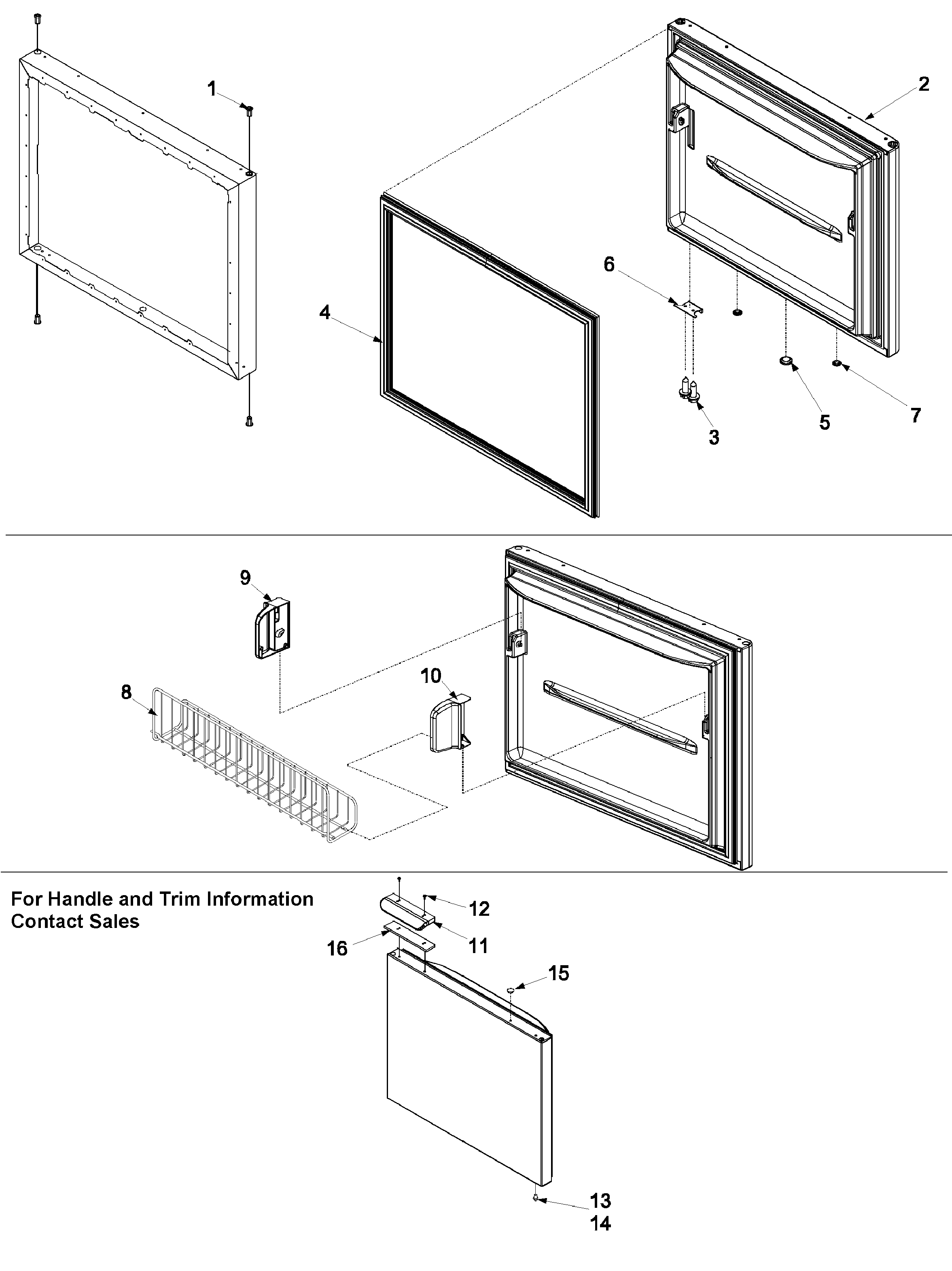 Amana XRBR206BW0 freezer door diagram