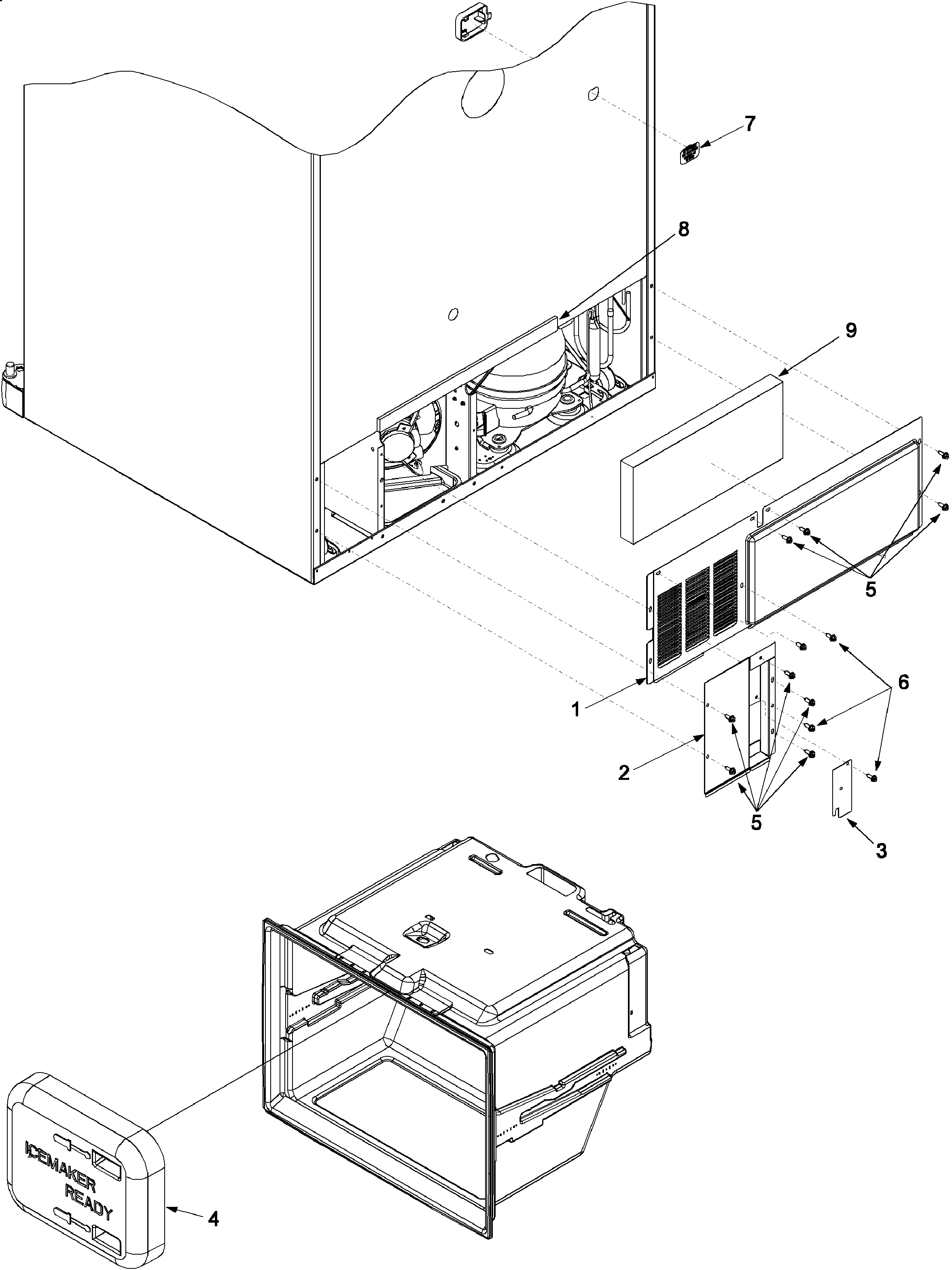 Amana XRBR206BW0 cabinet back diagram