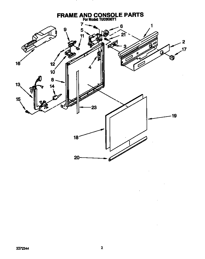 Whirlpool TUD3000Y1 frame and console diagram