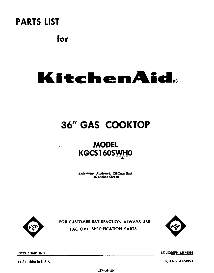 KitchenAid KGCS160SWH0 cover page-text only diagram