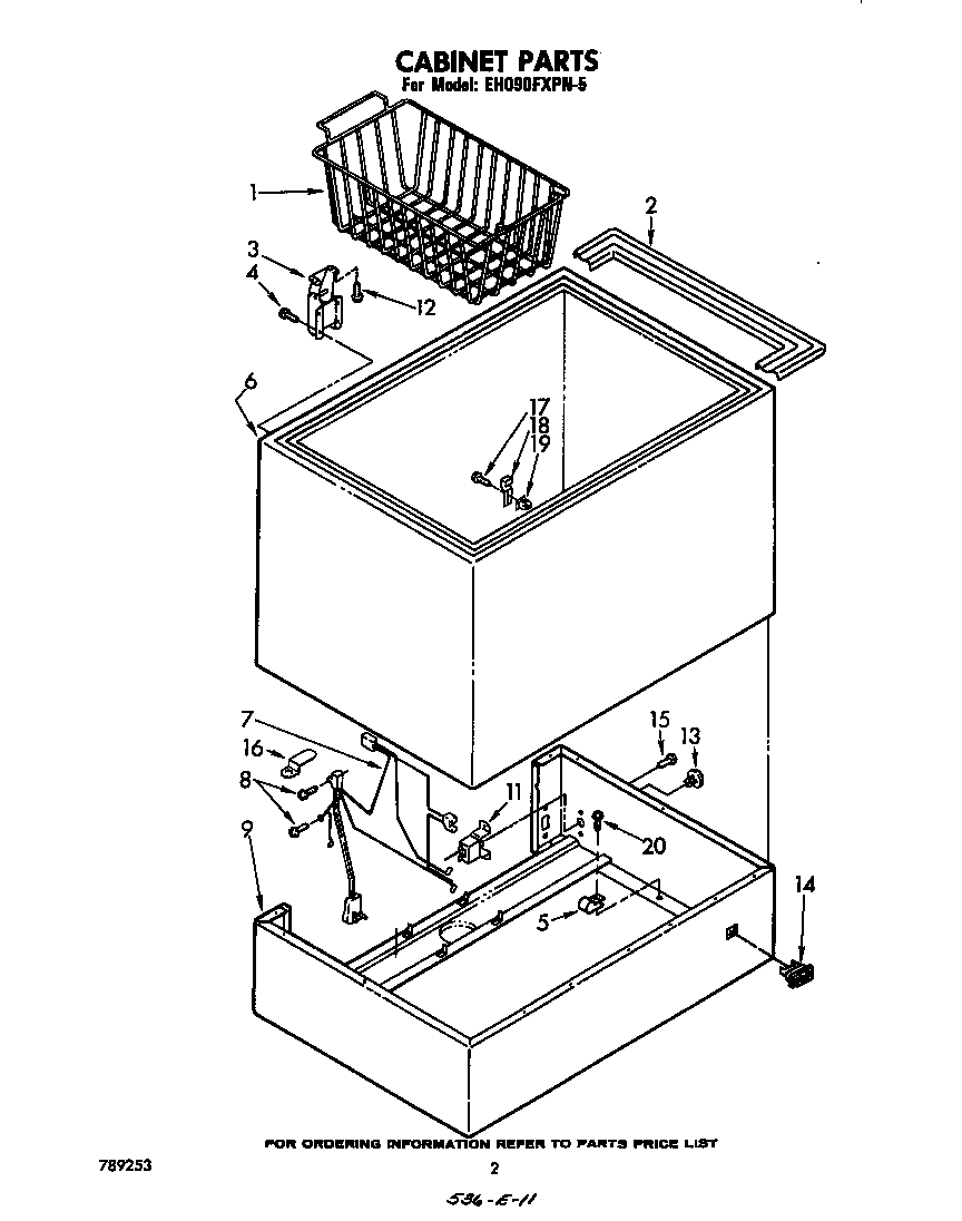 Whirlpool EH090FXPN5 cabinet parts diagram