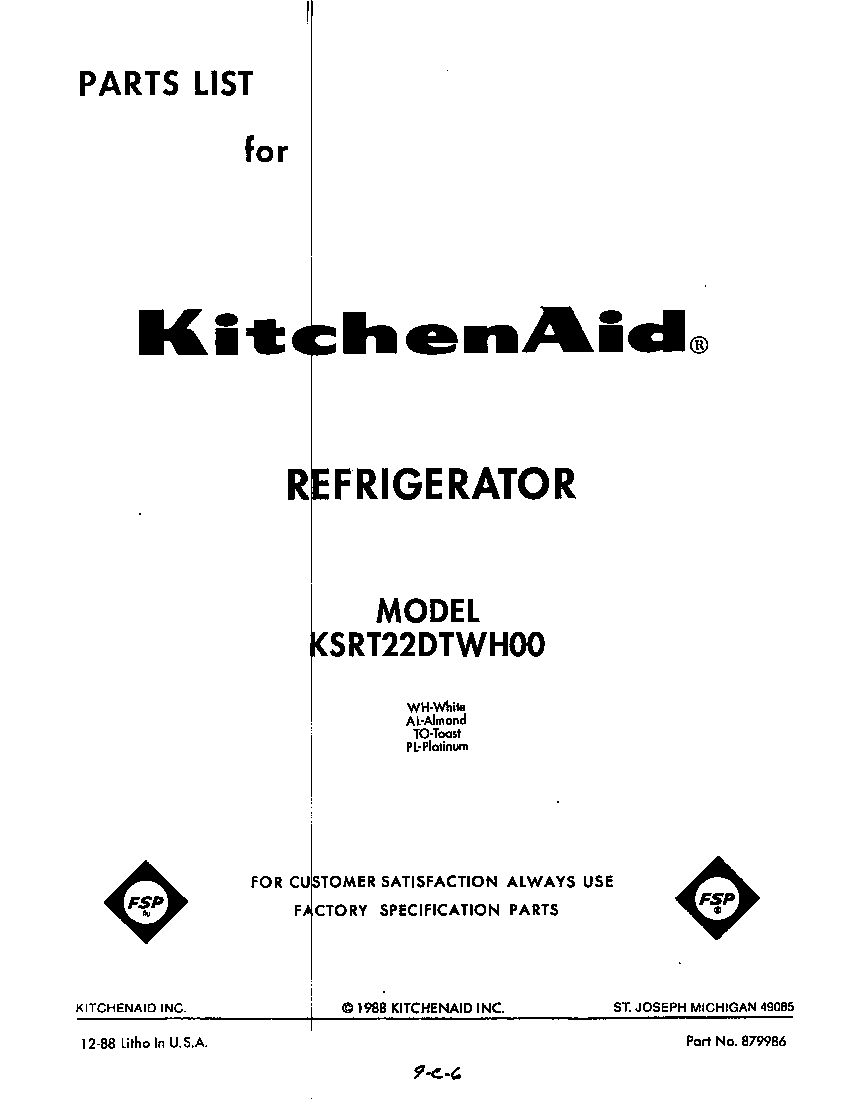 Kitchenaid  Refrigerators  Front cover