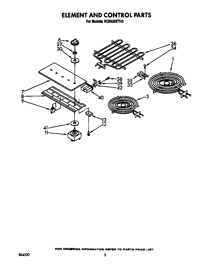 Whirlpool RC8536XTW2 element and control diagram