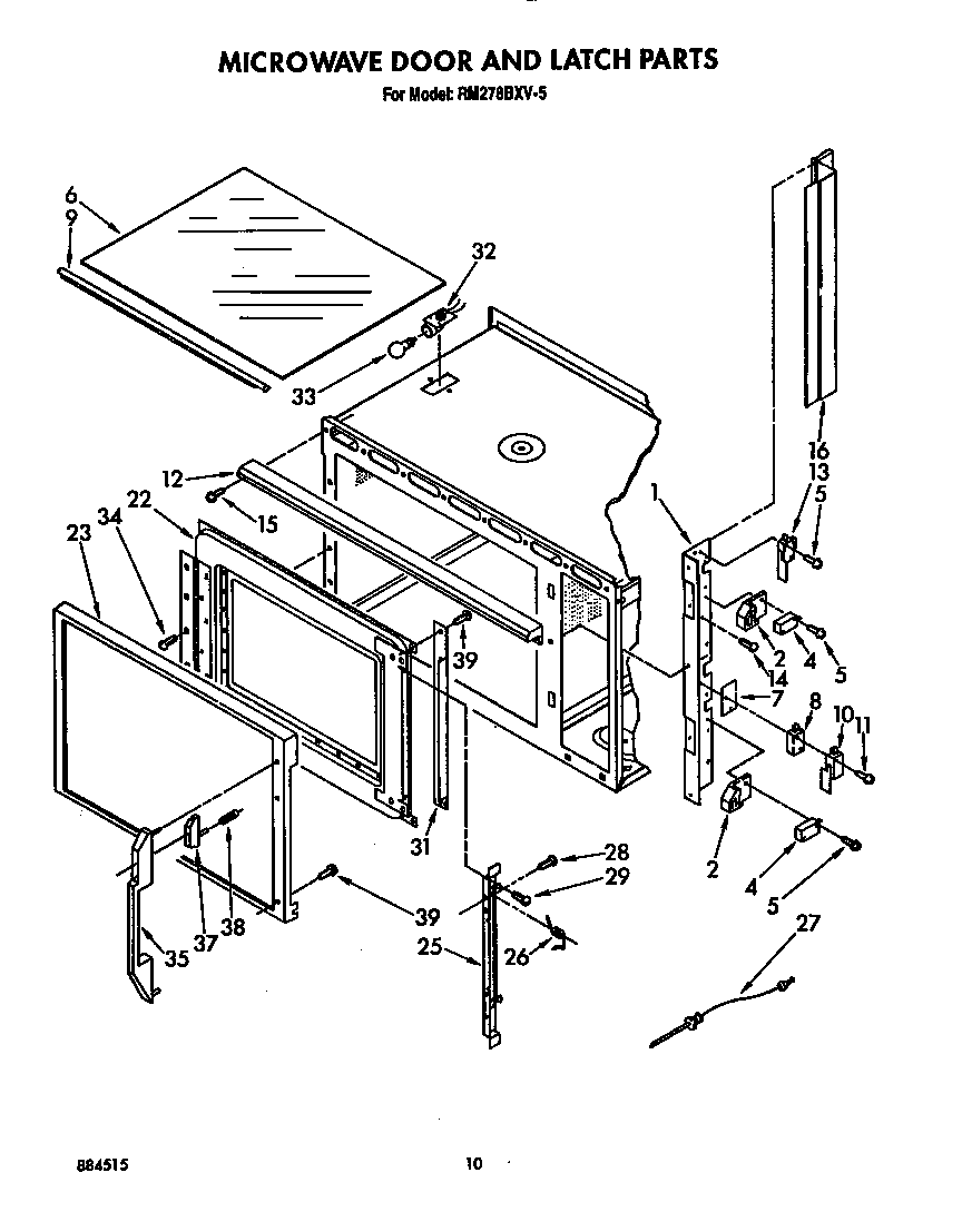 Whirlpool RM278BXV5 microwave door and latch diagram