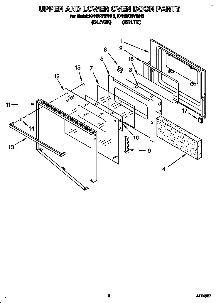 KitchenAid KEBS276YWH3 upper and lower oven door diagram