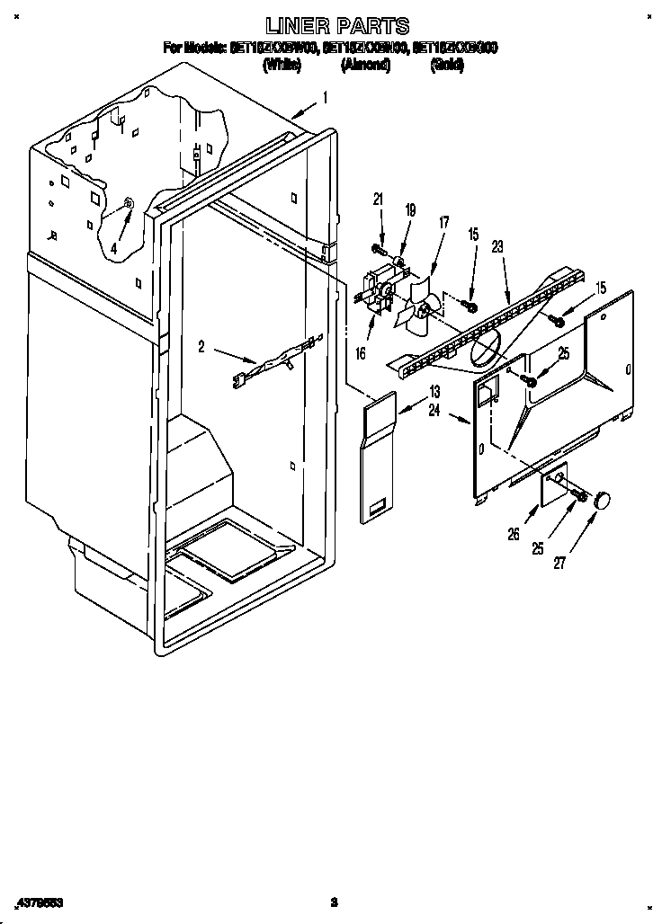 Whirlpool 8ET18ZKXBN00 liner diagram