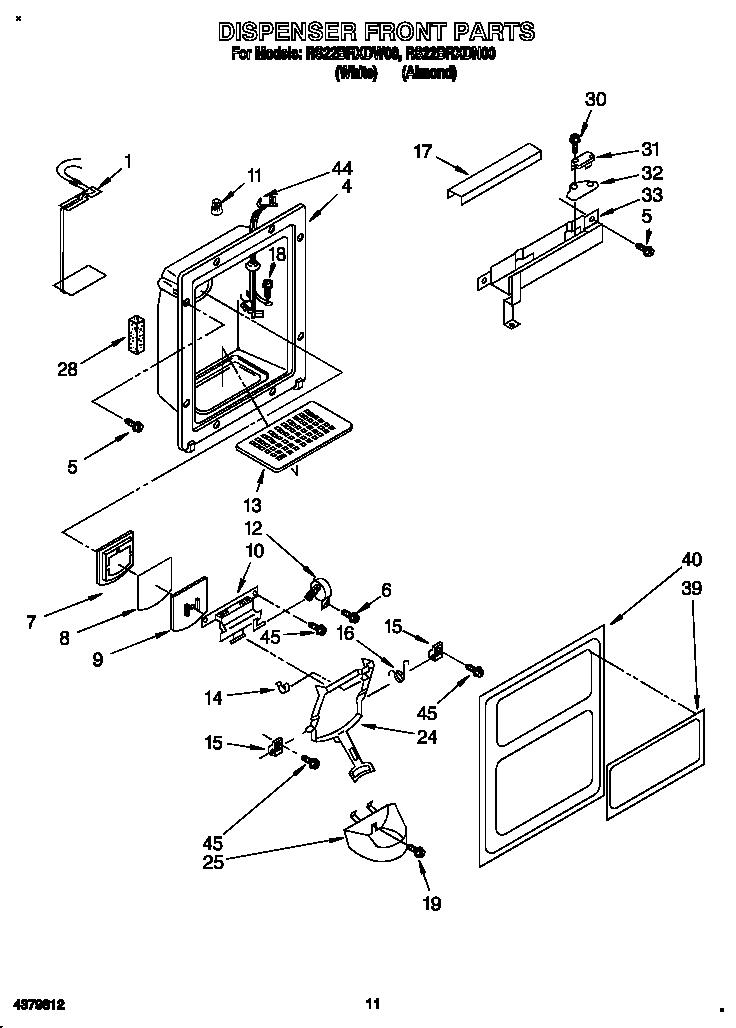 Roper  Refrigerator  Dispenser front