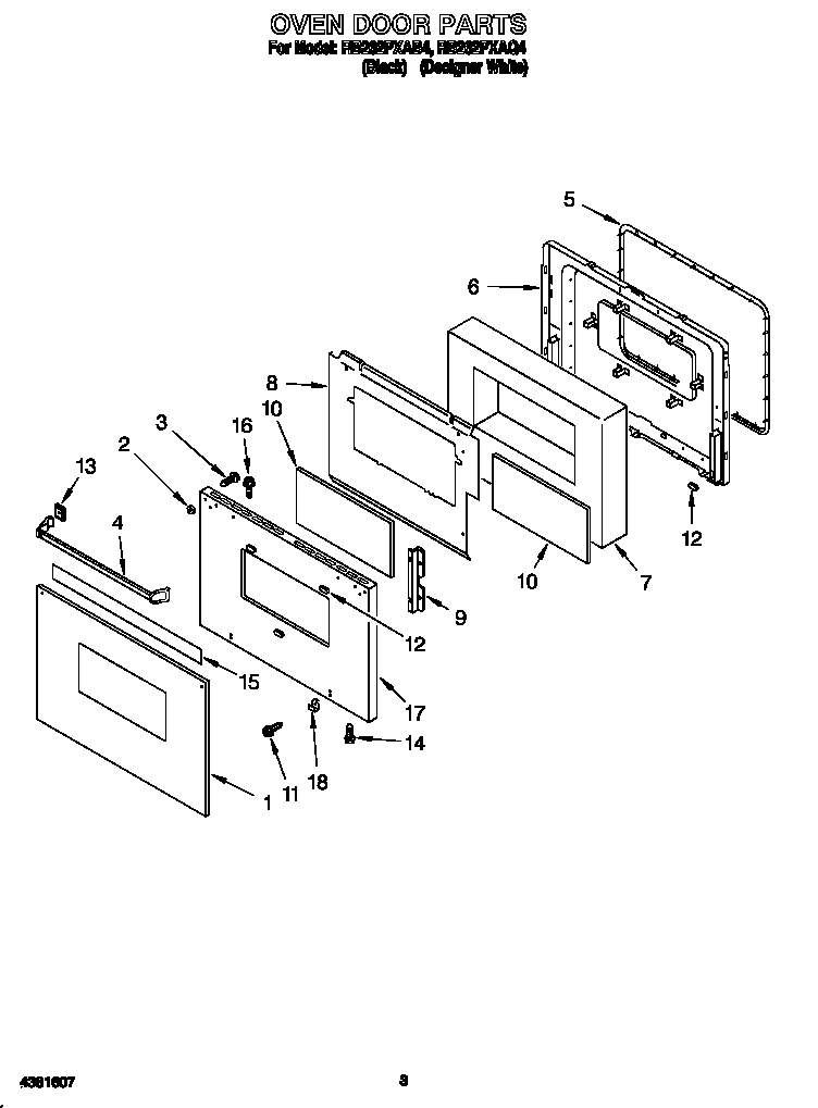 Whirlpool RB262PXAB4 oven door diagram