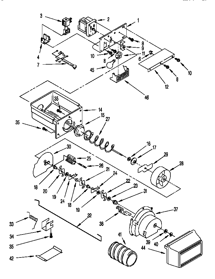 Whirlpool 8ED22DQXDN01 motor and ice container diagram