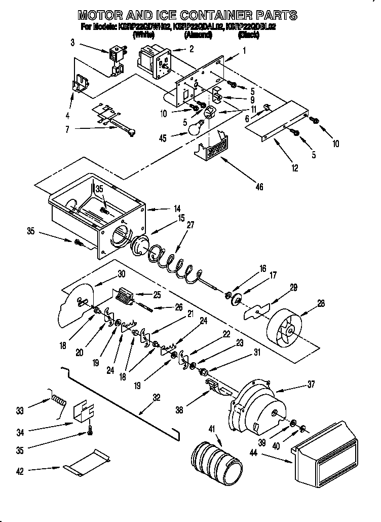 KitchenAid KSRP22QDWH02 motor and ice container diagram