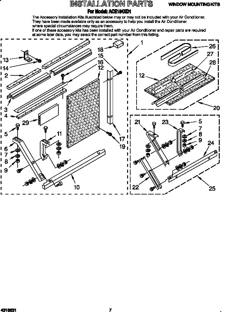 whirlpool air conditioner unit parts