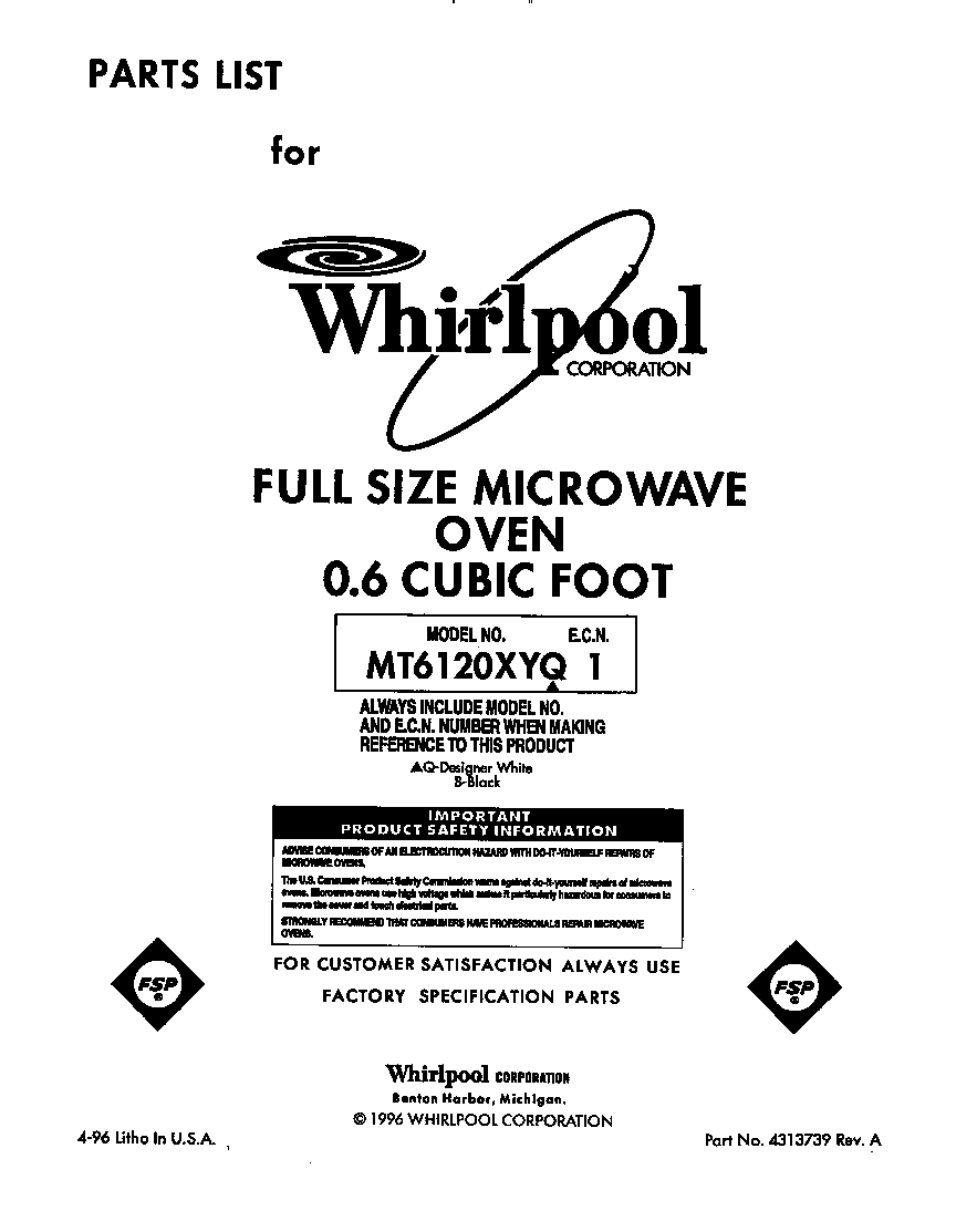 Whirlpool MT6120XYQ1 front cover diagram