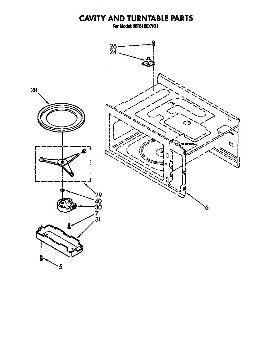Whirlpool MT6120XYQ1 cavity and turntable diagram