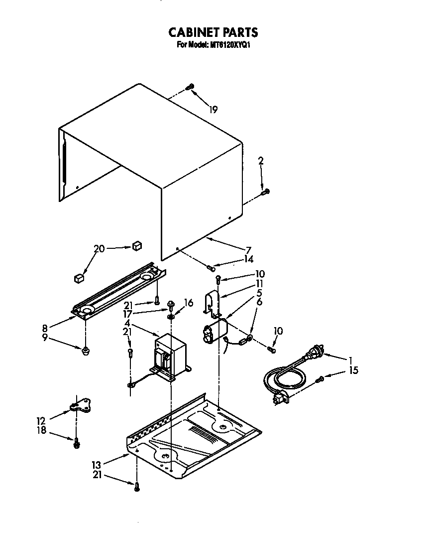Whirlpool MT6120XYQ1 cabinet diagram