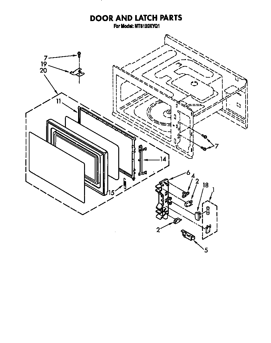 Whirlpool MT6120XYQ1 door and latch diagram