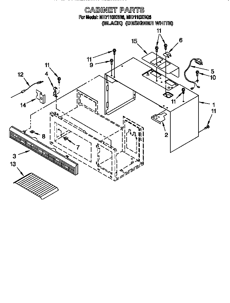 Whirlpool MH7110XBB6 cabinet diagram