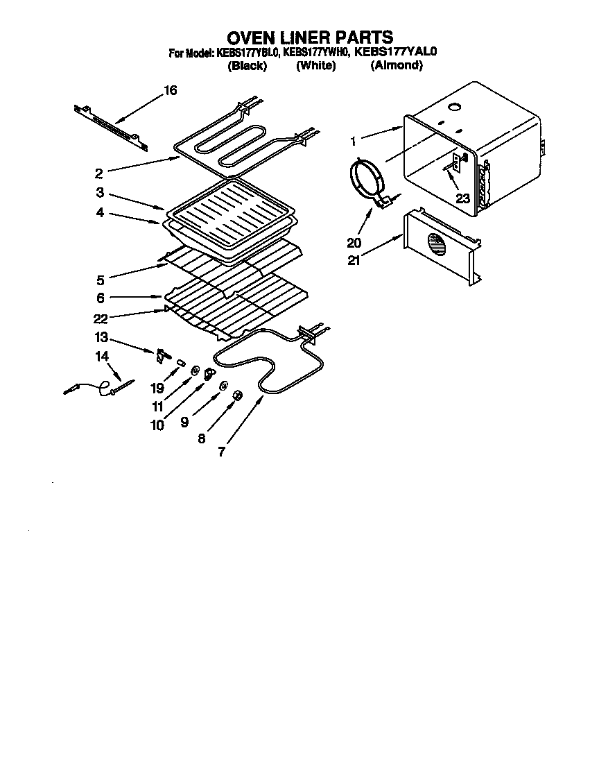 KitchenAid KEBS177YWH0 oven liner diagram