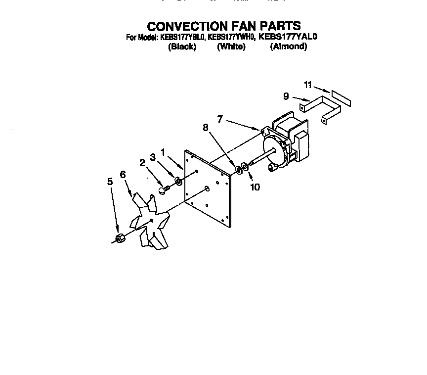 KitchenAid KEBS177YWH0 convection fan diagram