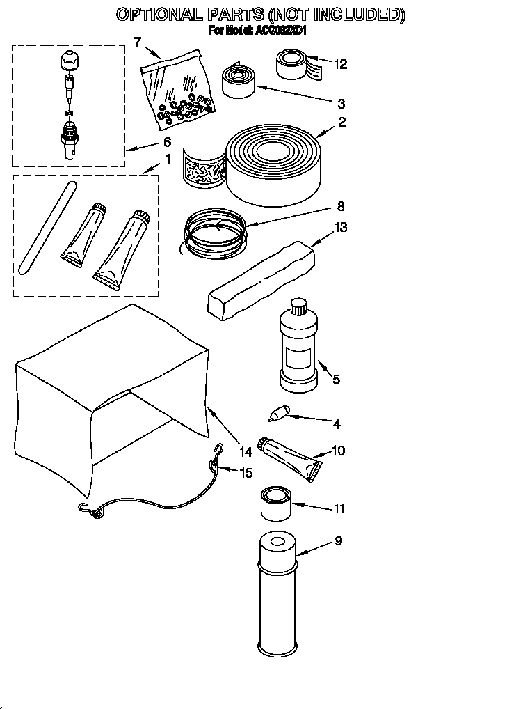 Whirlpool ACQ082XD1 optional parts (not included) diagram