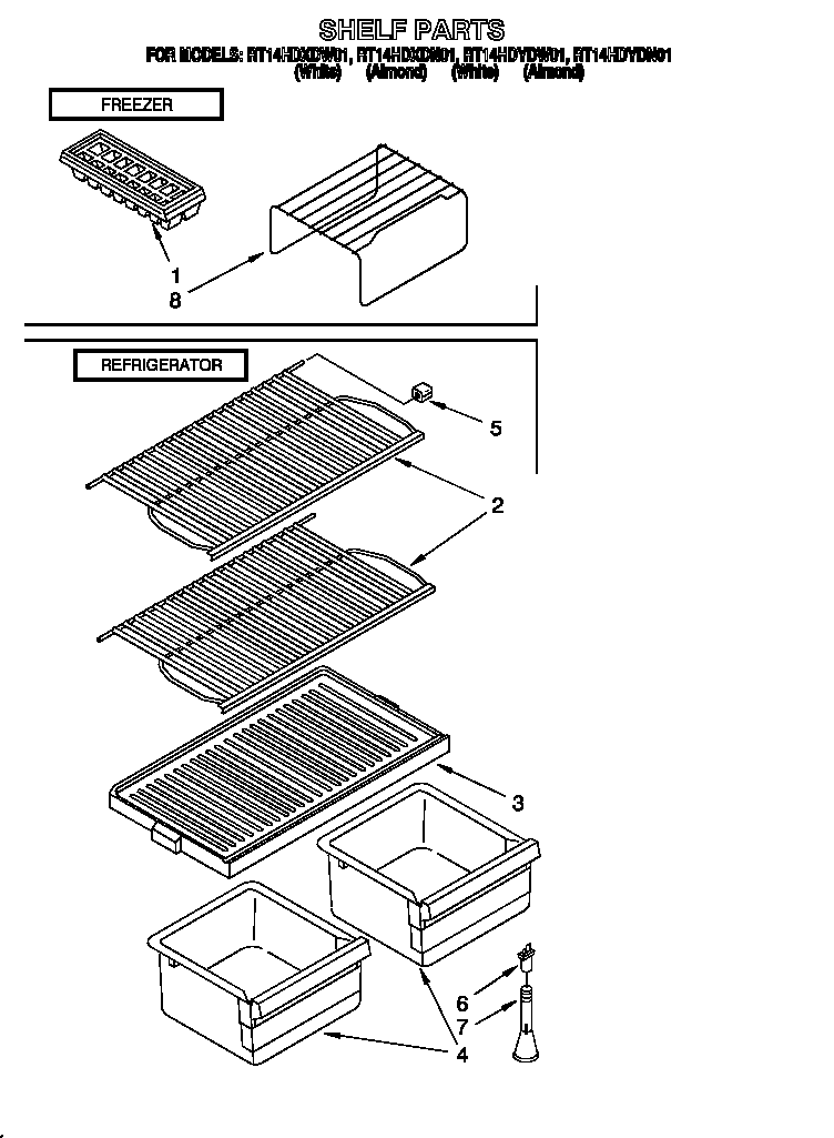 Roper RT14HDXDN01 shelf diagram