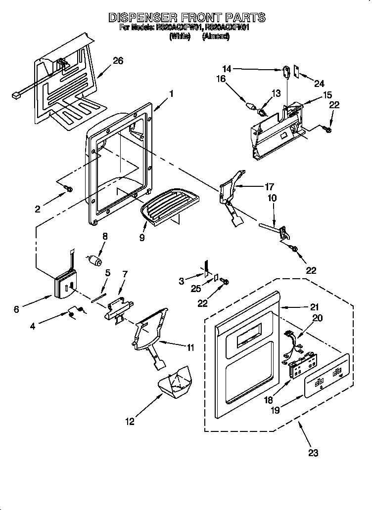 Roper  Refrigerators  Dispenser front
