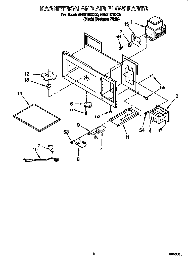 Whirlpool MH9115XBB0 magnetron and air flow diagram