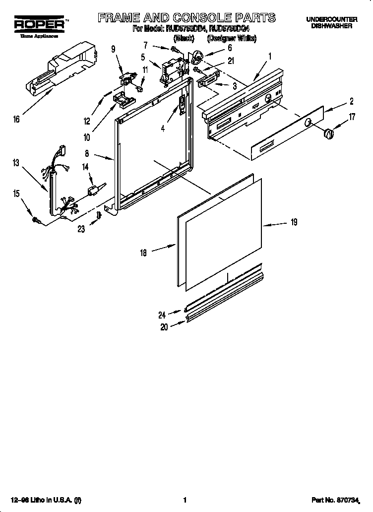 Roper RUD5750DB4 frame and console diagram