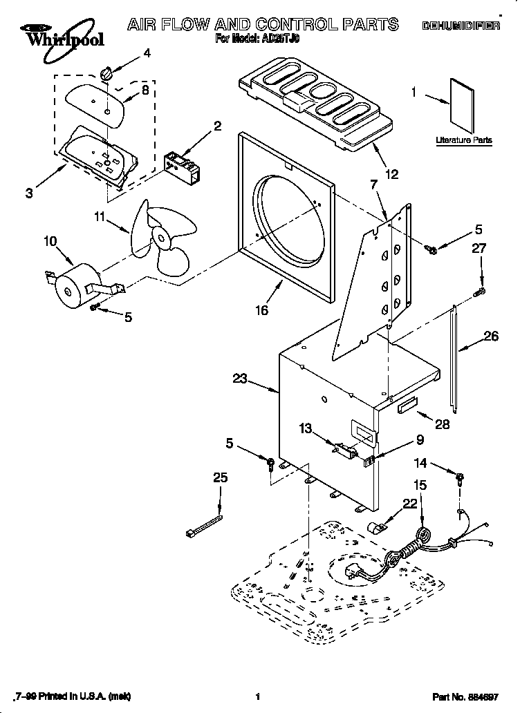 Whirlpool AD25TJ0 air flow and control diagram