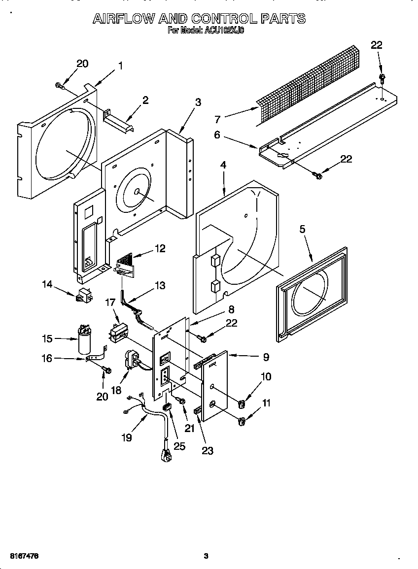 Whirlpool ACU102XJ0 airflow and control diagram