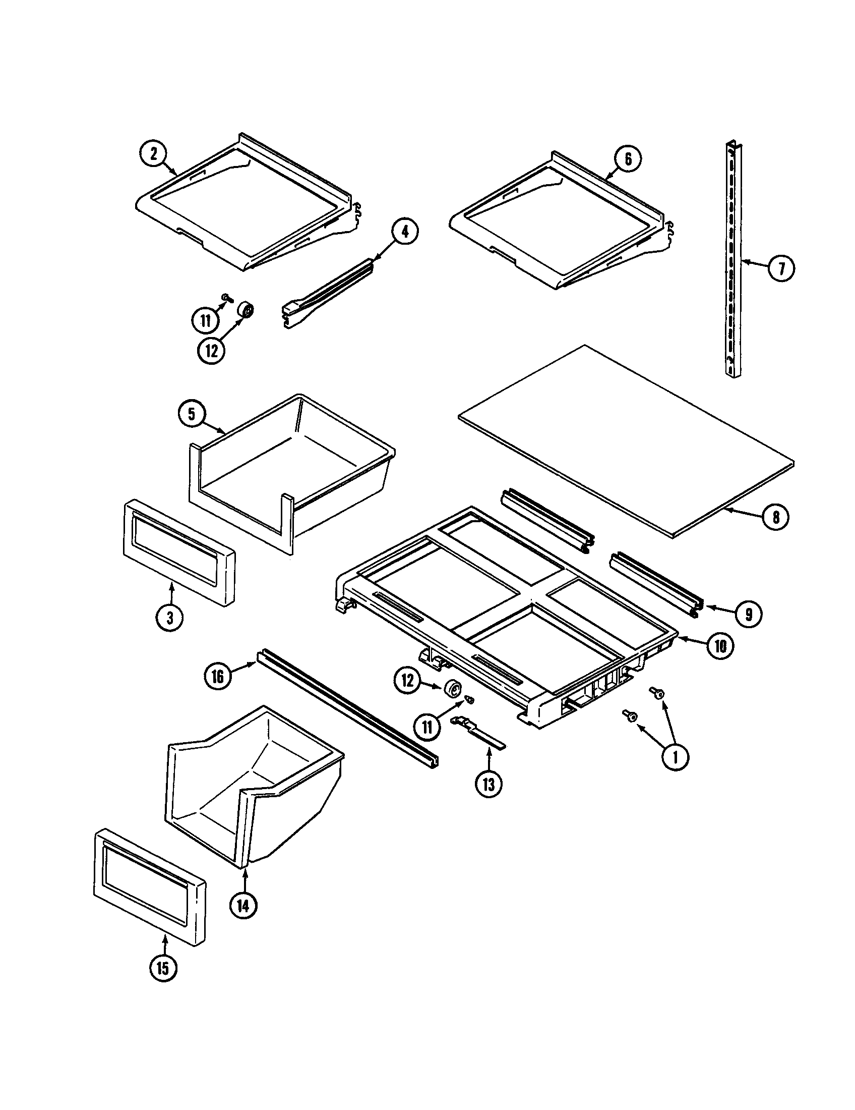Maytag MTB1954DRW shelves and accessories diagram