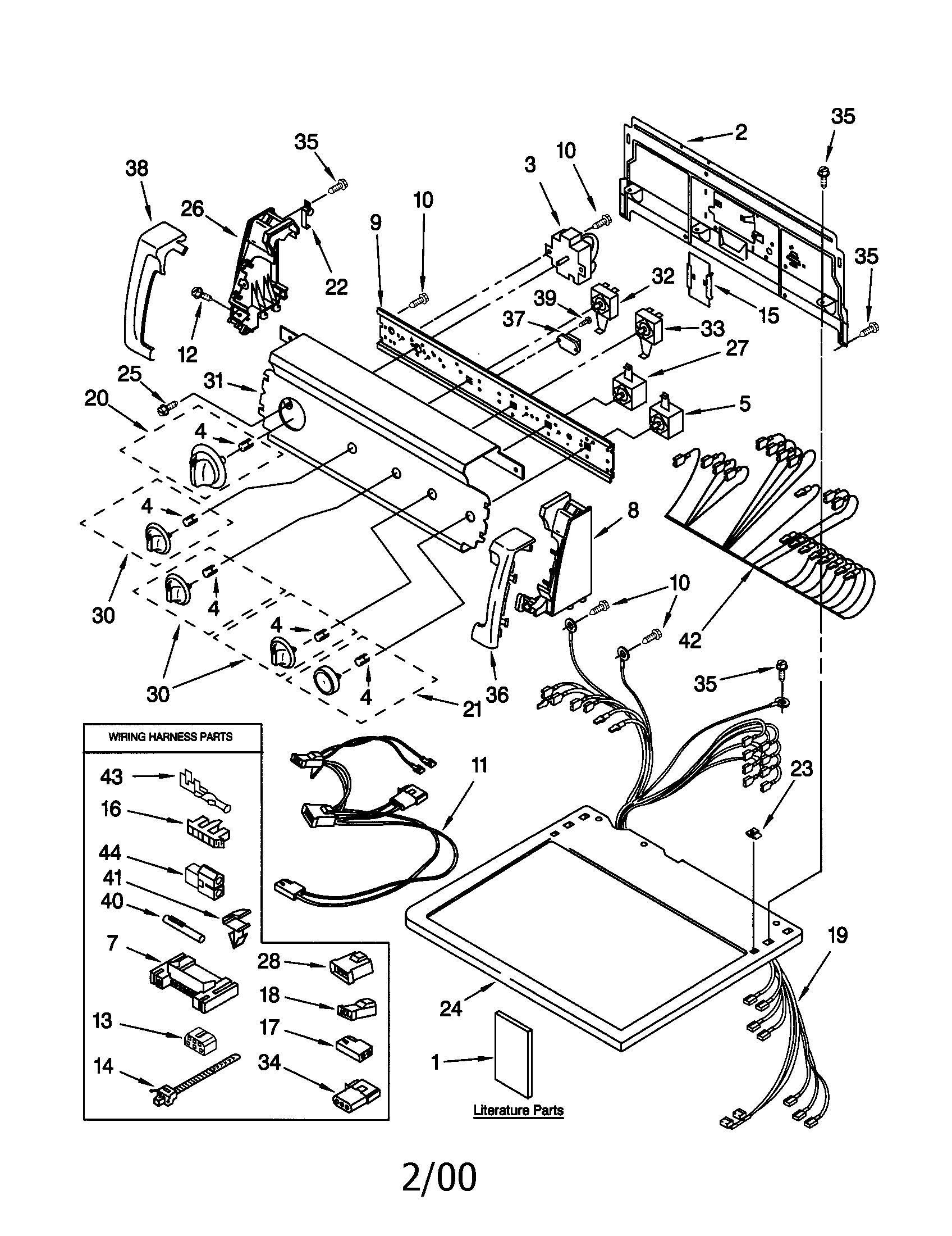 Kenmore 11070992990 top and console diagram
